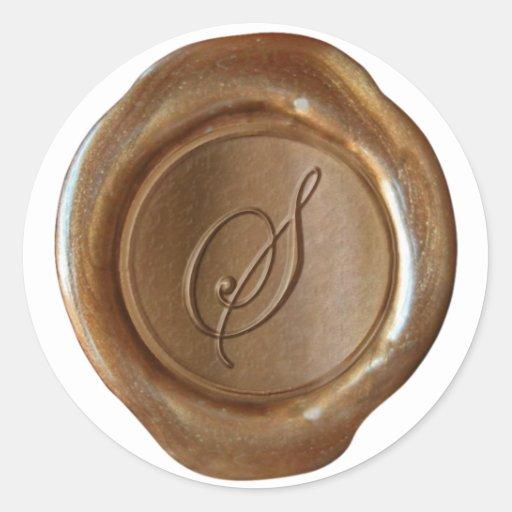 Wax Seal Monogram - Copper - Script S - Stickers