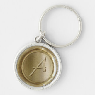 Wax Seal Monogram - Gold - Artistic A - Silver-Colored Round Key Ring