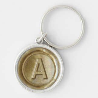 Wax Seal Monogram - Gold - Bold A - Silver-Colored Round Key Ring