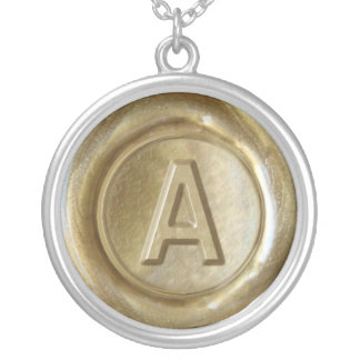 Wax Seal Monogram - Gold - Bold A - Silver Plated Necklace