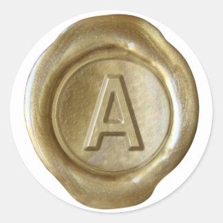 Wax Seal Monogram - Gold - Bold A- Round Stickers