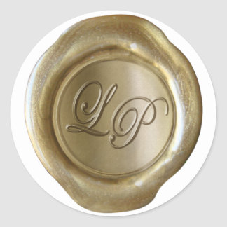 "Wax Seal Monogram - Gold - ""LP"" - Amy Custom Round Sticker"