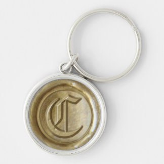 Wax Seal Monogram - Gold - Old English C - Silver-Colored Round Key Ring