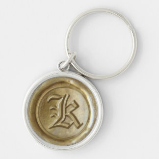 Wax Seal Monogram - Gold - Old English K - Silver-Colored Round Key Ring
