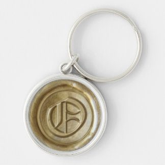 Wax Seal Monogram - Gold - Old English O - Silver-Colored Round Key Ring