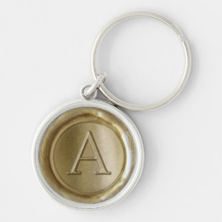 Wax Seal Monogram - Gold - Serif A - Silver-Colored Round Key Ring