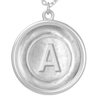 Wax Seal Monogram - Silver - Bold A - Round Pendant Necklace