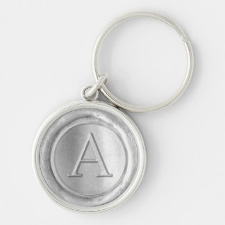 Wax Seal Monogram - Silver - Serifs A - Silver-Colored Round Key Ring