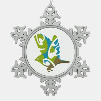 Waxeye - Tauhou , New Zealand Bird Snowflake Pewter Christmas Ornament
