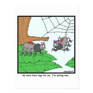 Waxing: Spider cartoon Postcard