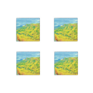 Way Above the Mountains Air Brushed Stone Magnet