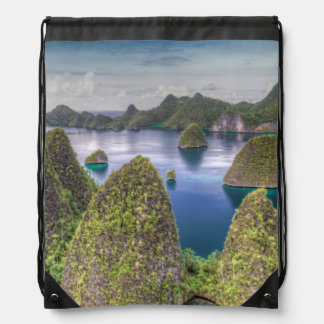 Wayag Island landscape, Indonesia Drawstring Bag