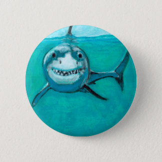 """Wayne"" The Great White Shark 6 Cm Round Badge"