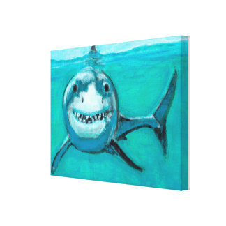 """Wayne"" The Great White Shark Canvas Print"