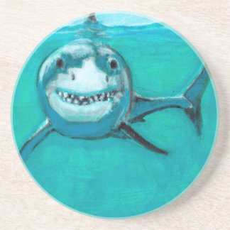 """Wayne"" The Great White Shark Drink Coaster"
