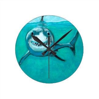 """""""Wayne"""" The Great White Shark Round Clock"""