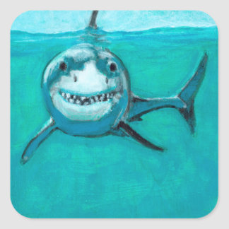 """Wayne"" The Great White Shark Square Sticker"