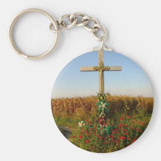 Wayside Crucifix, Romania Basic Round Button Key Ring