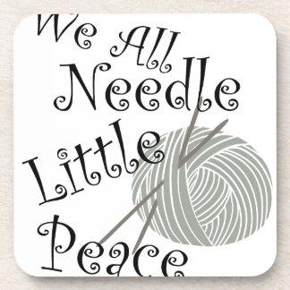 We All Needle Littel Peace Knitting Art Coaster