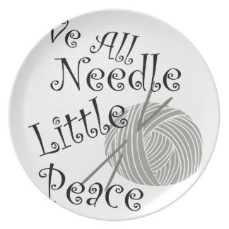 We All Needle Littel Peace Knitting Art Plate