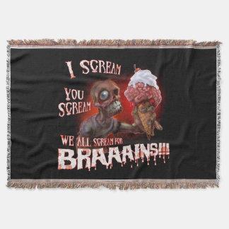 We All Scream For Braaains Throw Blanket