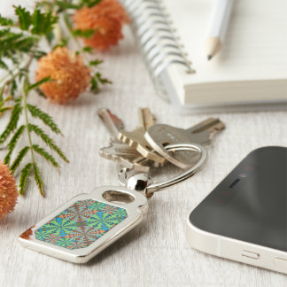 We are all Connected Silver-Colored Rectangle Key Ring