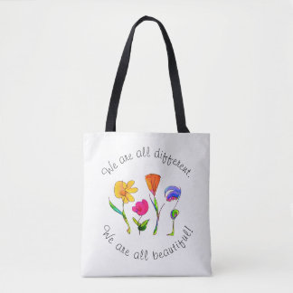 We Are All Different & Beautiful Diversity Tote Bag
