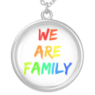 We Are Family Rainbow Sunshine Adoption Design Silver Plated Necklace