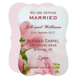 We are getting married Pink roses Wedding Card