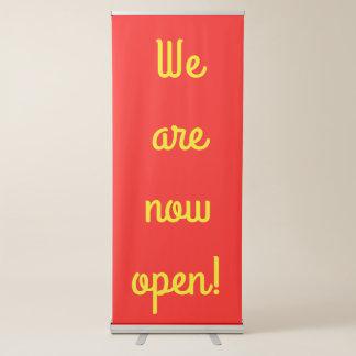 """We are now open!"" Vertical Retractable Banner"