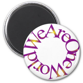 We Are One World (Purple) 6 Cm Round Magnet