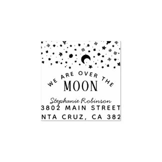 We Are Over The Moon Baby Shower Return Address Rubber Stamp