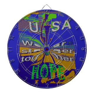 We are stronger together funny USA Hope pattern de Dartboards