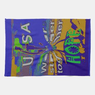 We are stronger together funny USA Hope pattern de Tea Towel