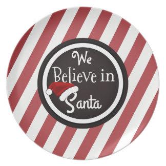 """""""We Believe In Santa"""" Christmas Cookie Party Plate"""
