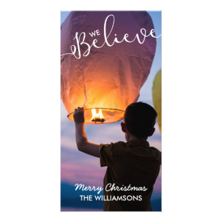 We Believe in the Magic of Christmas Holiday Photo Personalised Photo Card
