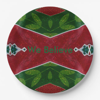 'We Believe' Modern Christmas Pattern 9 Inch Paper Plate