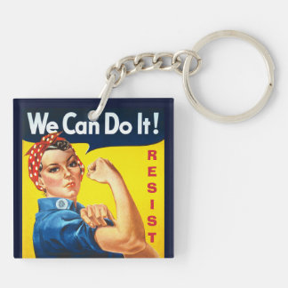 We Can Do It - Rosie the Riveter - Resist Double-Sided Square Acrylic Key Ring