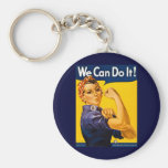 We Can Do It! Rosie the Riveter Vintage WW2 Basic Round Button Key Ring