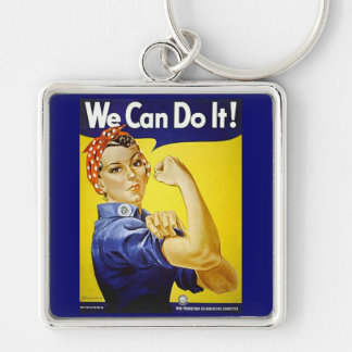 We Can Do It Silver-Colored Square Key Ring