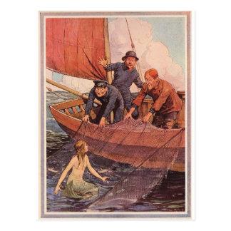 We Caught a Mermaid! Vintage Postcard