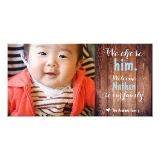 We Chose Him Rustic Adoption Announcement Card