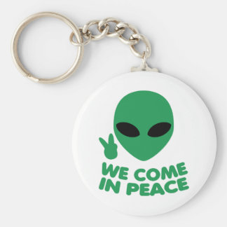 We Come In Peace Alien Key Ring