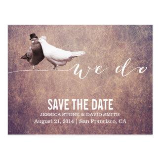 """We do"" Classy Grunge Love Birds Save the Date Postcard"