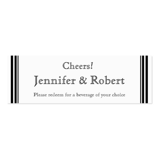 We Do Modern Frame in Black and White Drink Ticket Business Cards