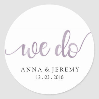We Do Thank You Purple Wedding Sticker