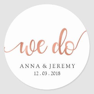We Do Thank You Rose Gold Wedding Sticker