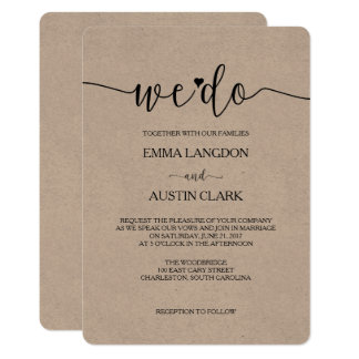 We Do Wedding Invitation - Kraft