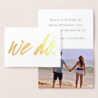 We Do Wedding Typography With Heart Detail Foil Card