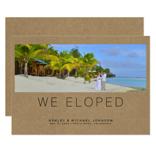 We Eloped Simple Kraft Photo Wedding Announcement